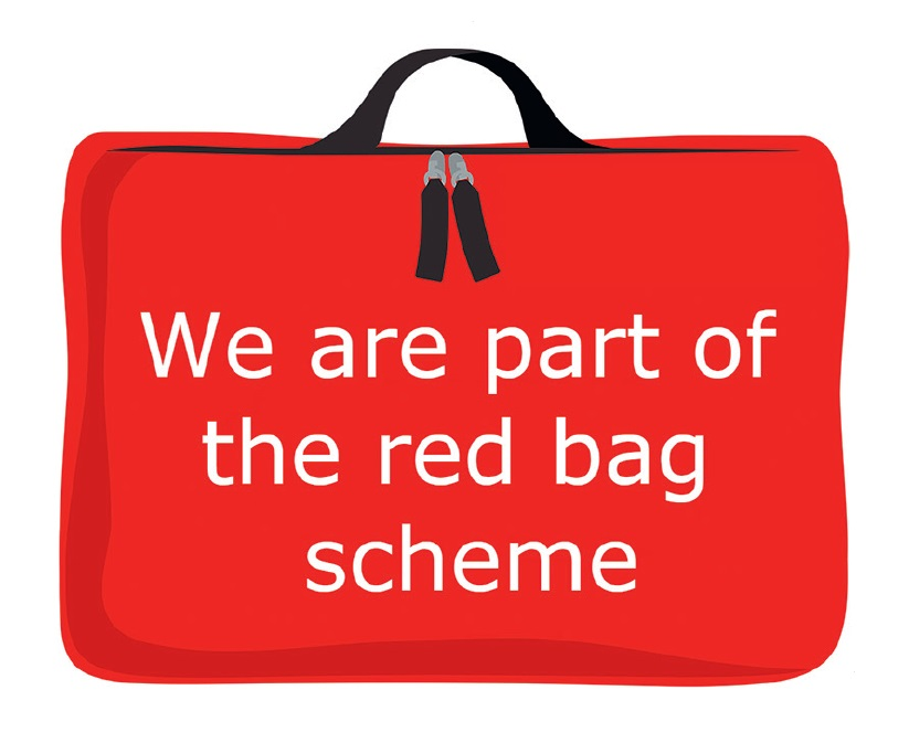 graphic of a red bag