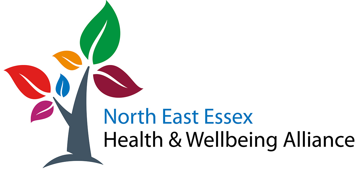 North East Essex Health & Wellbeing Alliance logo - a tree with multi-coloured leaves