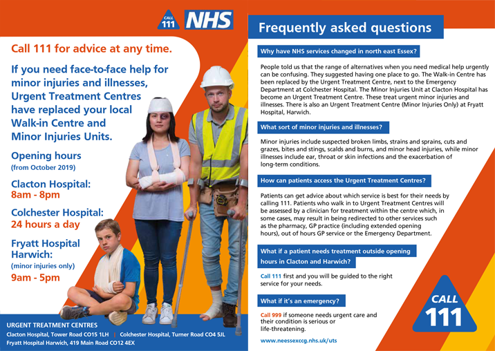Urgent Treatment Centre FAQs leaflet (A5 PDF) thumbnail